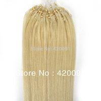 "Guarantee 100% Remy Human Hair 18"" 20"" Straight Micro Ring/Loop/Beads Human Hair Extensions,Platinum Blonde #60,0.5g/pcs,100pcs"