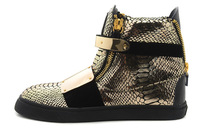 Men's Women's 2013 New Arrival Fashion Designer Brand Gold Snakeskin Double Iron Velcro High Fashion Top Quality Zip GZ Sneakers