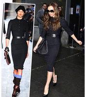 Promotion 2014 spring  Fashion high street  Women's Dress back zipper Victoria Beckham  women wear  casual dress  Free Shipping