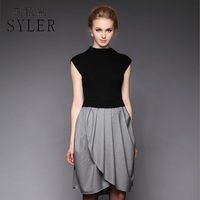 On sale 2013 autumn and winter quality brief elastic knitted color block irregular ruffle medium-long one-piece dress