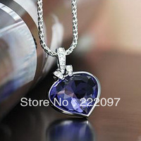 Wholesale Rhinestone Crystal Blue Heart of Ocean Austrian genuine 1791275 Ms. classic necklace pendants Free shipping