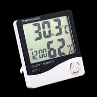 HTC-1 Lcd Digital Humidity Temperature Tester Meter Clock Hygrometer Free Shipping