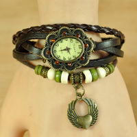 2013 winter new lovely heart pendant women charming bracelet watches, high quality vintage cute dress watch. free shipping W1535