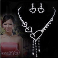 White Gold Plated  Rhinestone  Crystal  Heart  Tassel  Necklace Earring Set   Lover  Jewelry