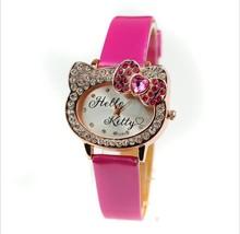 Free Shipping 2014 new PU Leather Hello Kitty Watch fashion rhinestone wrist Watch For Children Girls Women(China (Mainland))