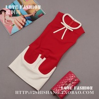 On sale 2013 autumn female vintage fashion color block bow pocket tank dress one-piece dress