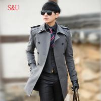 Slim wool wool trench coat male medium-long outerwear 1