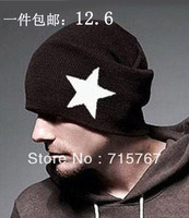 Autumn and winter male hat five-pointed star knitted hat knitted hat hip-hop cap pocket hat maozi