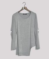 New arrival 2013 fashion personality women's slim all-match long design irregular sweep long-sleeve T-shirt basic shirt