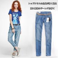 Thin denim fabric women's light color jeans trousers harem pants with belt plus size