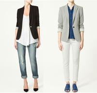 2013 spring female fashion one button slim formal blazer black grey