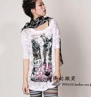 2013 summer fashion loose flower fabric half sleeve t-shirt t skirt