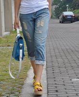 2013 - new arrival fashion boyfriend hole roll hem lace up jeans capris
