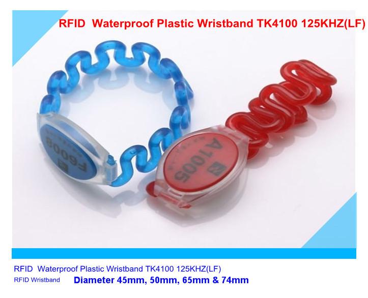 RFID Waterproof Plastic Wristband TK4100 125KHZ(LF) 200pieces/lot Diameter 45mm, 50mm, 65mm & 74mm(China (Mainland))