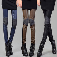 Free shipping, New fashion pant,Black Patchwork PU casual pants fashion legging pencil pants leather pants trousers