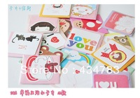 12 pieces/lot Free shipping mini message cards daily greeting small card cute bowknot card kids love postcard