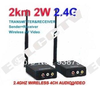 2000M 2W 2.4G Wireless AV Video transceiver Sender + Receiver E25 +Free shipping