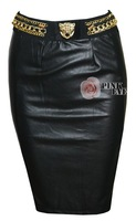 Free shipping Stylish metallic chains fake belt PU leather skirts,   TB 5799