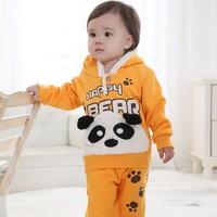 Babyrow2013 children's clothing winter thermal set 100% cotton velvet baby