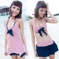 Small push up belt swimwear skirt split skirt bikini piece set navy stripe