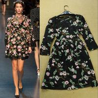 Женское платье 2014 New fashion vintage rose print lace patchwork full dress women long sleeve vintage flower print maxi dress black lace dress