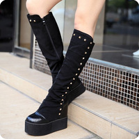 2013 25pt fashion rivet wedges platform elevator patchwork platform tall boots