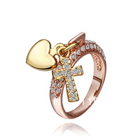LR372 New 18K Yellow Rose Gold Plated Items Simulated Diamond Crystal Heart Lock Cross Key Lover's Finger Rings Women's Jewelry