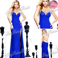 2014 Tarik Ediz Dress Sexy Halter With Beading Natural Waist A line Floor length Satin Party Evening Dresses Long