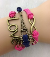 6pcs Infinity Bracelets,Eiffel Tower Bracelet,Antique bronze,Free Shipping Dropshipping