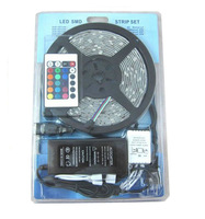 Wholesale!!! 12V/24V RGB Led Strip Light Waterproof 5M SMD 5050 300 LEDs/Roll + 24 keys IR Remote Controller + 5A Adapter