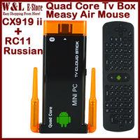 cx919 ii Android TV Box Quad Core Mini PC J22 RK3188 2GB RAM 8GB ROM Bluetooth HDMI TV Stick CX 919 ii + Russian RC11 Air Mouse