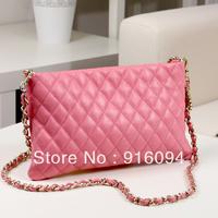Day clutch female 2013 envelope bag genuine leather handbag women's  chain plaid cross-body bag free shipping