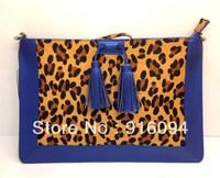 New fashion Envelope bag Fringed Leopard Tassel package Genuine leather Hand shoulder bag free shipping