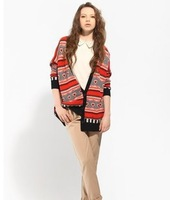 2013 new fashion Europe women elegant vintage Striped irregular native heart Knitted Cardigans stylish Casual Slim sweater coat