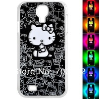 Free shipping NEW Cute Hello Kitty Sense Flash light Case Cover for Samsung Galaxy S4 S IV I9500 LED LCD Color Changed 10PCS/lot