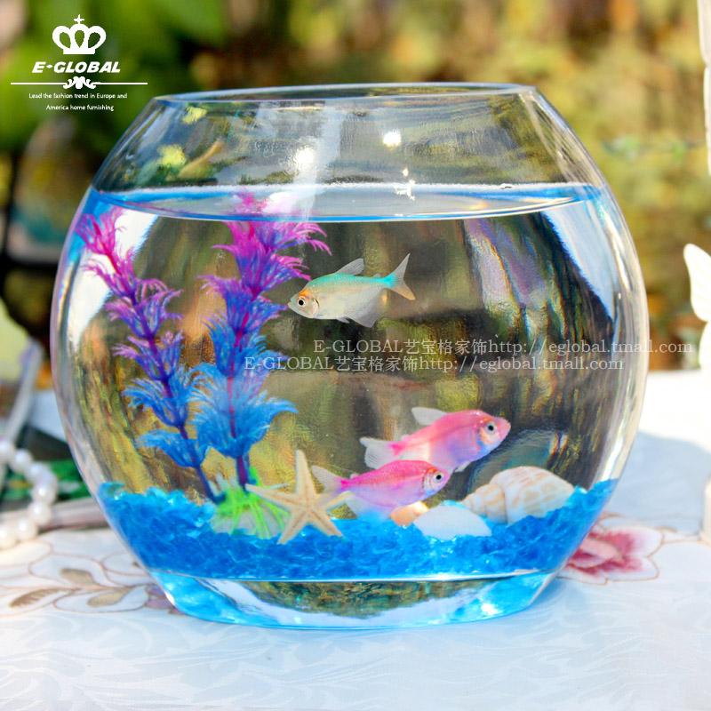 Mini white circle fish tank transparent glass gold fish tank fashion ...