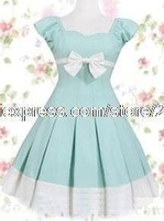 Light Sky Blue Cotton Sweet Lolita Dress halloween christmas lolita costumes Free Shipping