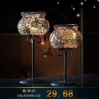 Fashion iron glass mosaic tall candle table cup wedding decoration american hurricane lantern