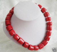 "Wholesale cheap men old Natural antique Tibet Red Coral Silver Necklace large beads 18"" / Free Shiping"