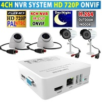4CH 4 Channel Onvif NVR 1TB HDD 4pcs Tenvis IPROBOT3 720P IP Cameras Free Shipping by DHL/Fedex