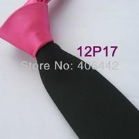 YIBEI Coachella ties Mens SKINNY Tie Fuschia Knot Contrast Black Solid Color Two Tone Woven Necktie SLIM Tie Narrow Tie For Men