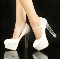 2013 new white princess high-heeled shoes14cm platform sexy shoes women's pumps  white wedding shoes woman 2013 free shipping