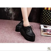 2013 punk rivet platform shoes lacing round toe flat-bottomed single shoes women's wedges shoes casual shoes