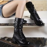 Fashion vintage boots handsome martin boots thick heel buckle motorcycle boots female shoes boots