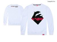new design pink dolphin t shirt 100% cotton fashion hip hop full tshirt Top Brand tee o neck long t-shirt Free-shipping