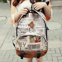 New Fashion Unisex Newspaper Design Print Canvas + Lint Backpack Schoolbag Shoulder Bag dropshipping 12579