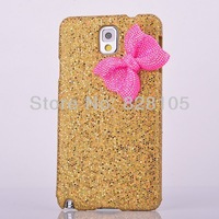Chrismas Gift Gold Shell Pink bow knot Bling crystal case cover for Samsung galaxy note 3 N9000 free shipping