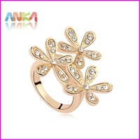 18K Gold Plated with Rhinestones Flower Trendy Finger Ring  #100798