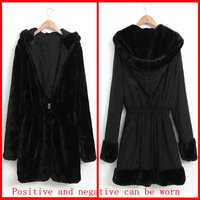 Hot sale korean style, Faux fur Long sleeve Hoodies and Cardigan women coat, Reverse side can wear,Black, Warm,Free shipping