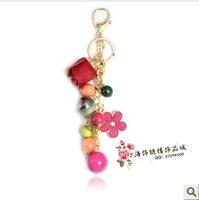 Leather bags three-dimensional rose pendant bead tassel bag hangings rhinestone car keychain chain